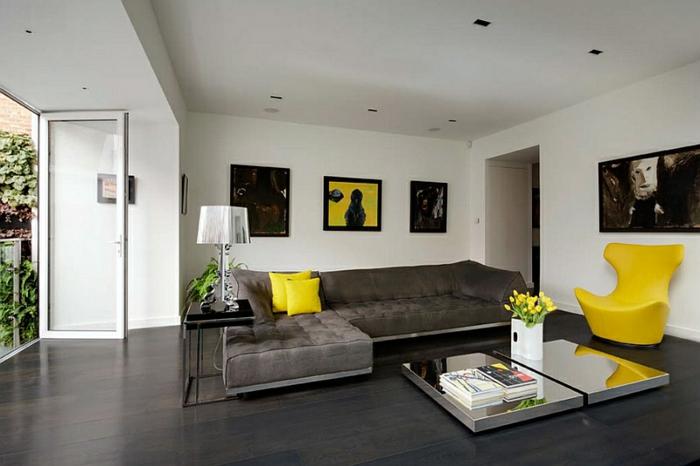 Wohnzimmer gelb akzent for Akzente design