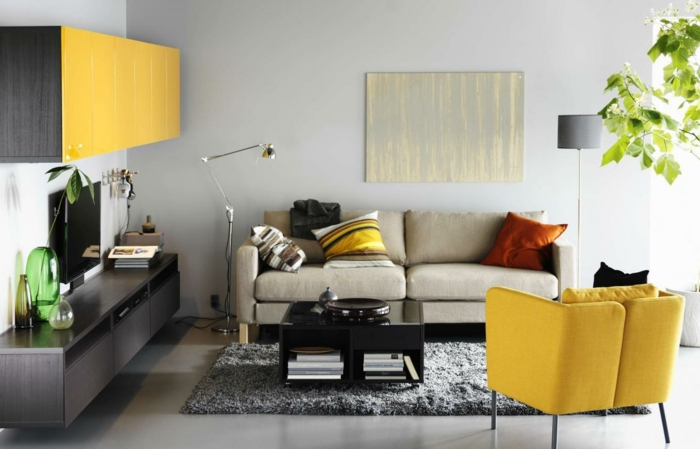 Wohnzimmer Ideen Ohne Fernseher Sessel Gelb Grauer