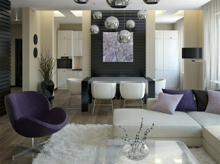 wohnzimmer sessel lila sessel lila akzente weißer teppich