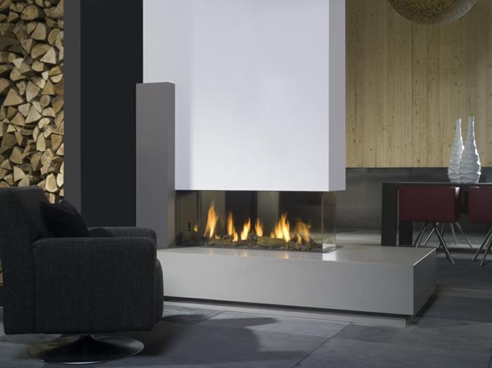 wohnzimmer sessel moderne feuerstelle schwarzer sessel