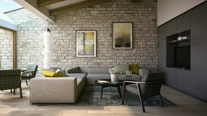 Wohnzimmer Steinwand Design