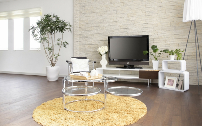 Steinwand Wohnzimmer - 43 Beispiele, Wie Steine Auf Das Ambiente