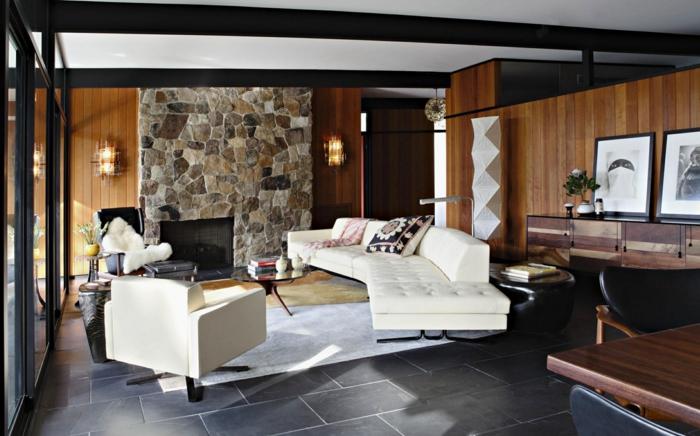 malerisch steinwand wohnzimmer platten natursteinwand grau tapete