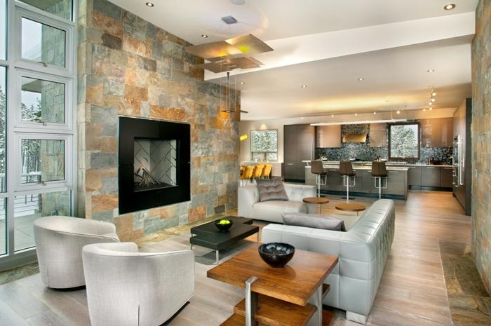 wohnzimmer steinwand dekorativ kamin schicke möbel
