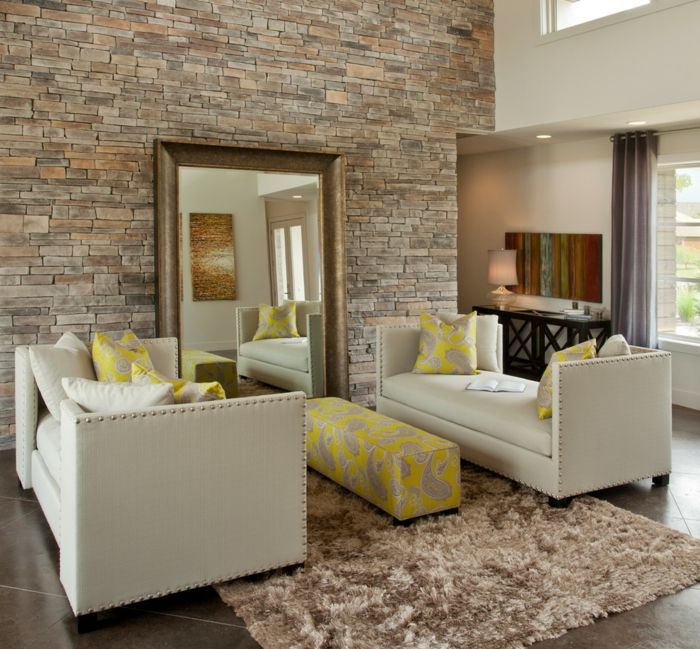 wohnzimmer wand steine:Steinwand Wohnzimmer – 43 Beispiele, wie Steine auf das Ambiente