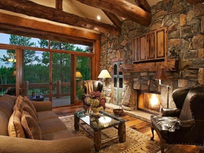 Landhausstil rustikal wohnzimmer  Steinwand Wohnzimmer - 43 Beispiele, wie Steine auf das Ambiente ...