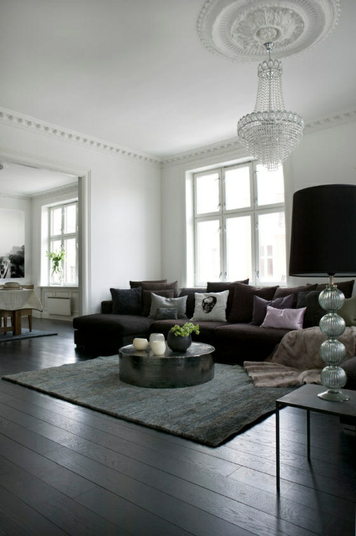 wohnzimmereinrichtung ideen dunkle farbtöne