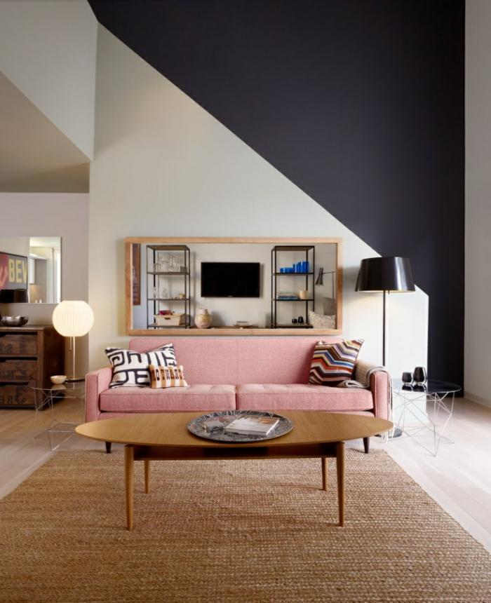 wohnzimmereinrichtung ideen hellrosa sofa sisalteppich wandfarbe