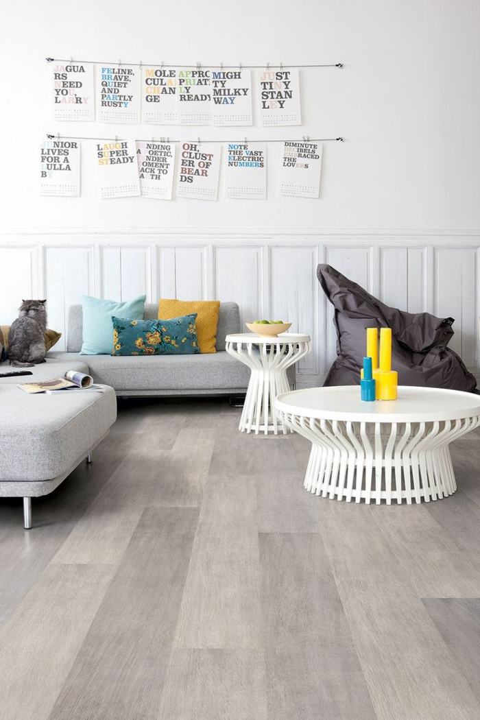 Wohnzimmereinrichtung Ideen Laminatboden Beistelltische Schicke Dekokissen