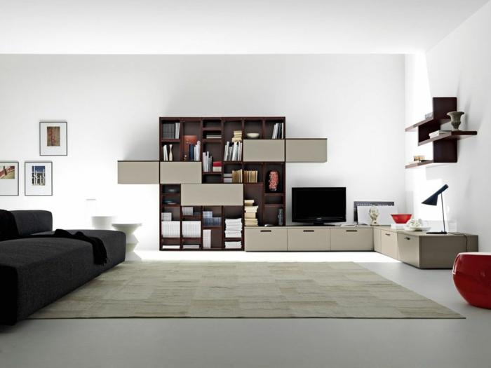 Wohnzimmereinrichtung Ideen Minimalistisch Regalsystem Wohnzimmer Modern  Einrichten U2013 59 Beispiele Für Modernes Innendesign ...
