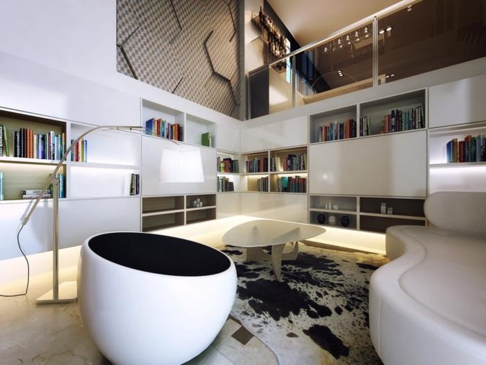 wohnzimmereinrichtung ideen modernes wohnzimmer fellteppich stauraum