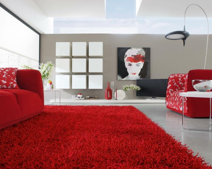 Wohnzimmereinrichtung Ideen Roter Teppich Beige Wnde