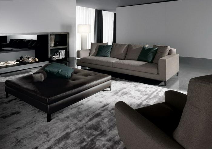 wohnzimmereinrichtung ideen schicker teppich ledelhocker elegante sofas