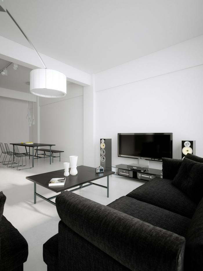 wohnzimmereinrichtung ideen schwarze möbel weißer boden