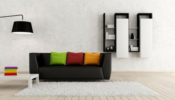 wohnzimmereinrichtung-ideen-schwarzes-sofa-regalsystem-minimalistisch, Wohnzimmer dekoo