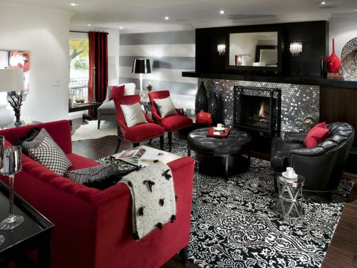 wohnzimmereinrichtung ideen teppichmuster rote möbel