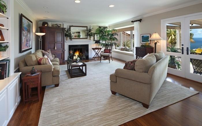 wohnzimmerteppich beiges design und dunkler bodenbelag
