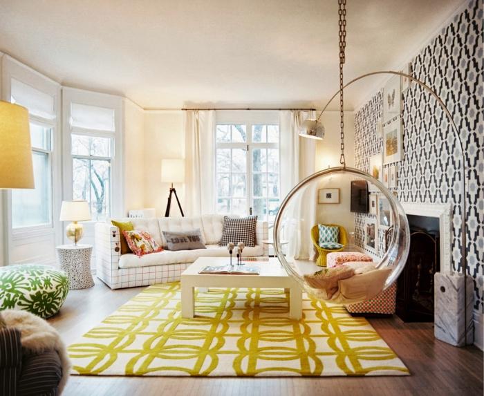 Wohnzimmerteppich Geometrisches Muster Coole Hängesesse Wandtapete