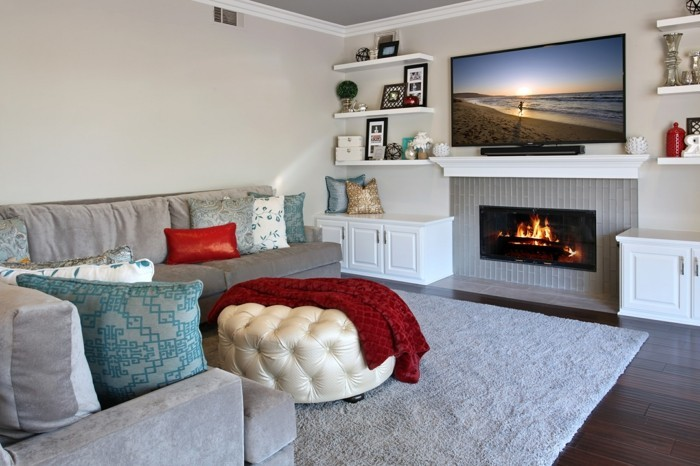 wohnzimmerteppich hellgrauer teppich ergänzt schönden raum