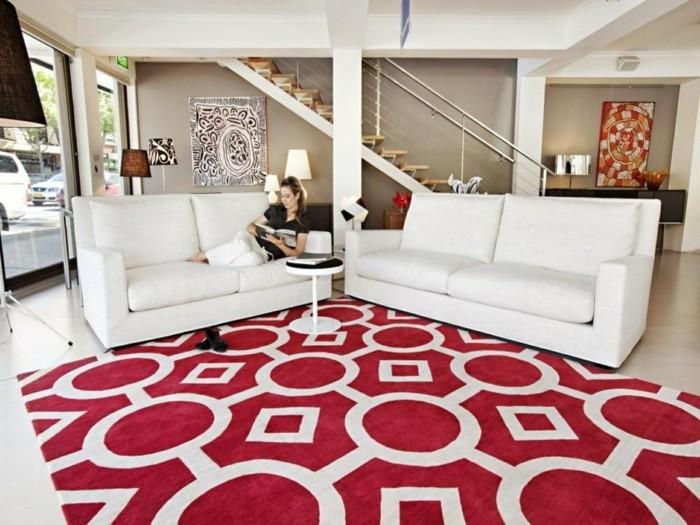wohnzimmerteppich in weiß rot mit frischem muster