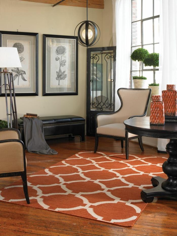 wohnzimmerteppich orange dekoideen orangetöne