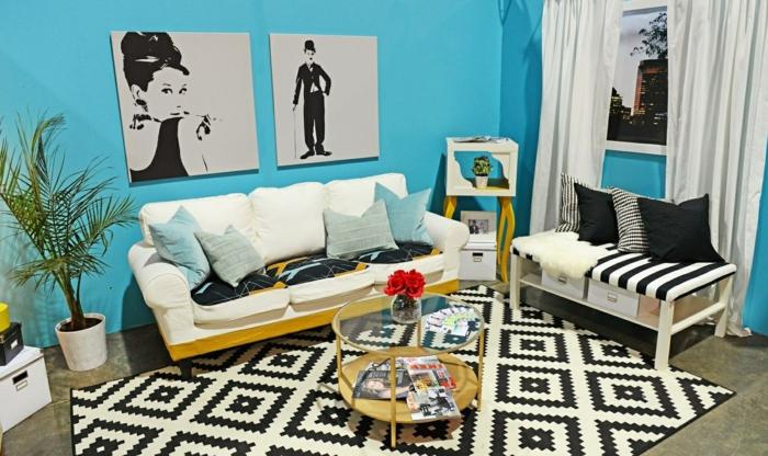 wohnzimmerteppich teppichmuster retro elemente blaue wände