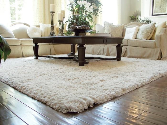 wohnideen wohnzimmer weißer teppich und weiße wohnzimmermöbel