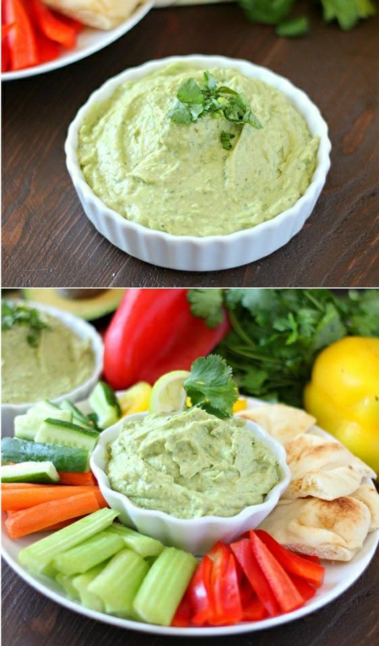 Avocado Gerichte zubereiten Avocado Dip Gemüse