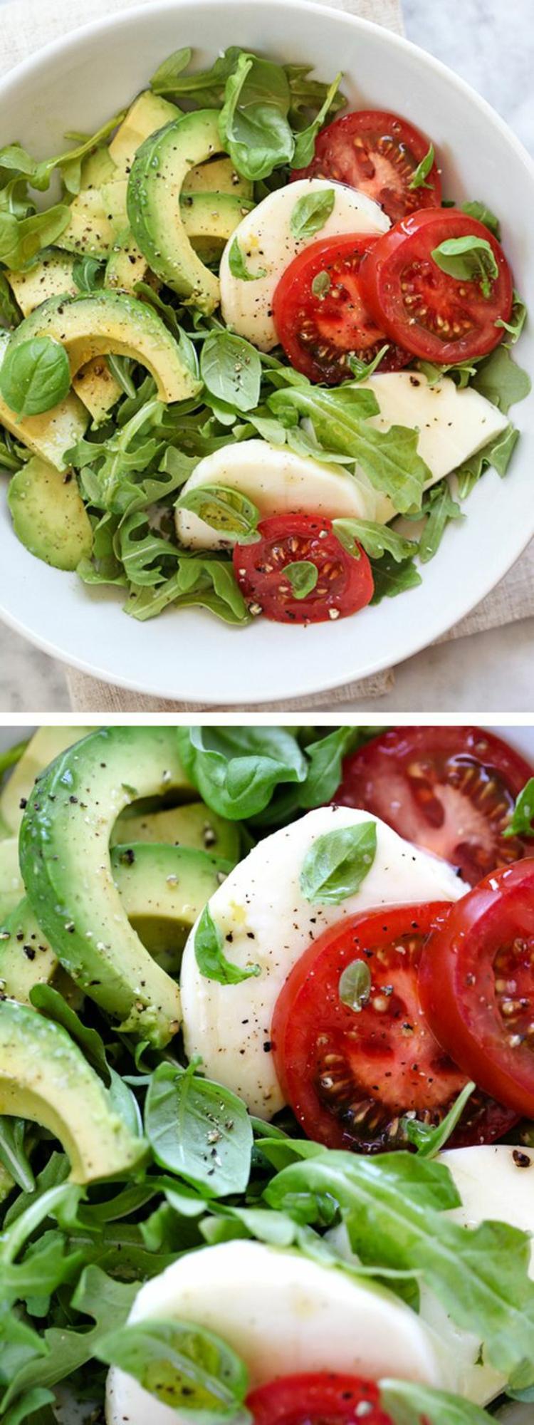 Avocado Rezepte Avocado Salat Mozzarela Tomaten gesunde Ernährung