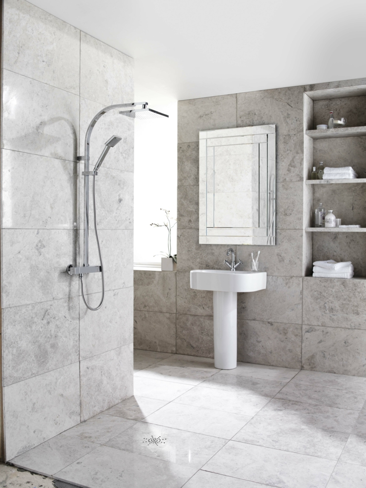 Frappant Moderne Badezimmer Fliesen Grau Idee