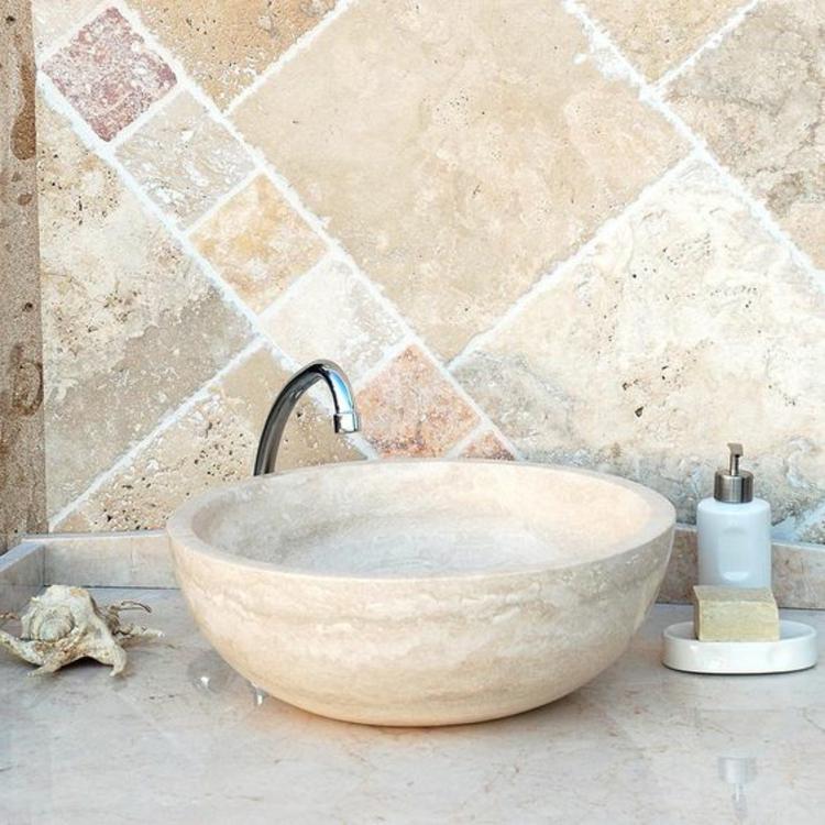 Badezimmerfliesen Travertin Fliesen Badgestaltung Waschbecken