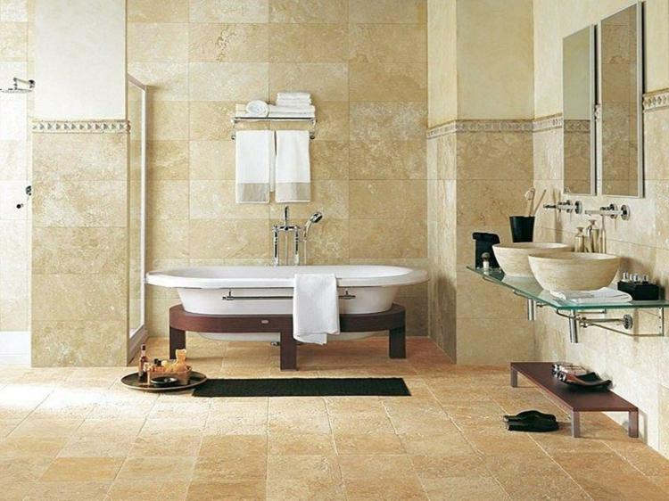 Travertin Fliesen Im Badezimmer Gestaltungsmoglichkeiten Mit