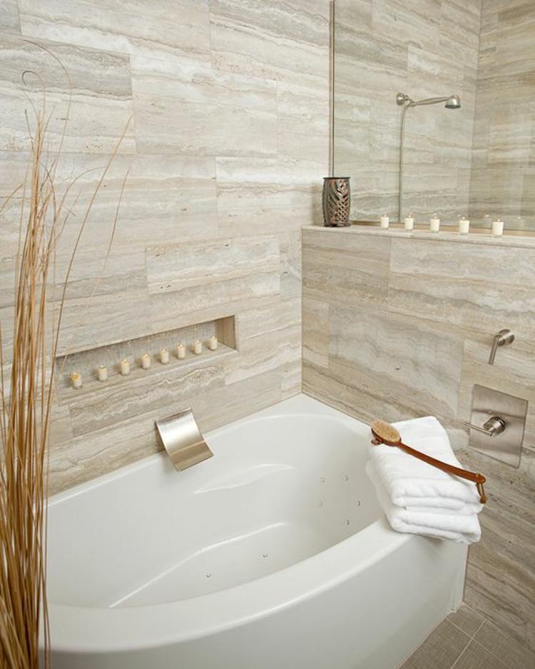 Modernes Feuchtraumboden Für Badezimmer Bodenbelag Abdichten Stil: Travertin Fliesen Im Badezimmer: Gestaltungsmöglichkeiten