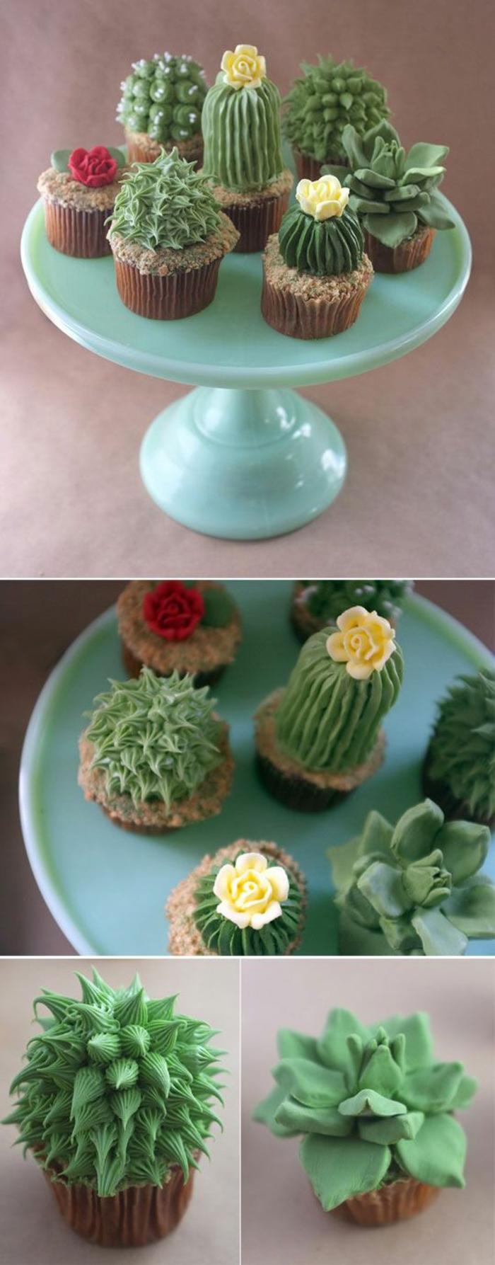 Cupcakes Rezepte Kaktus Törtchen backen für Fortgeschrittene