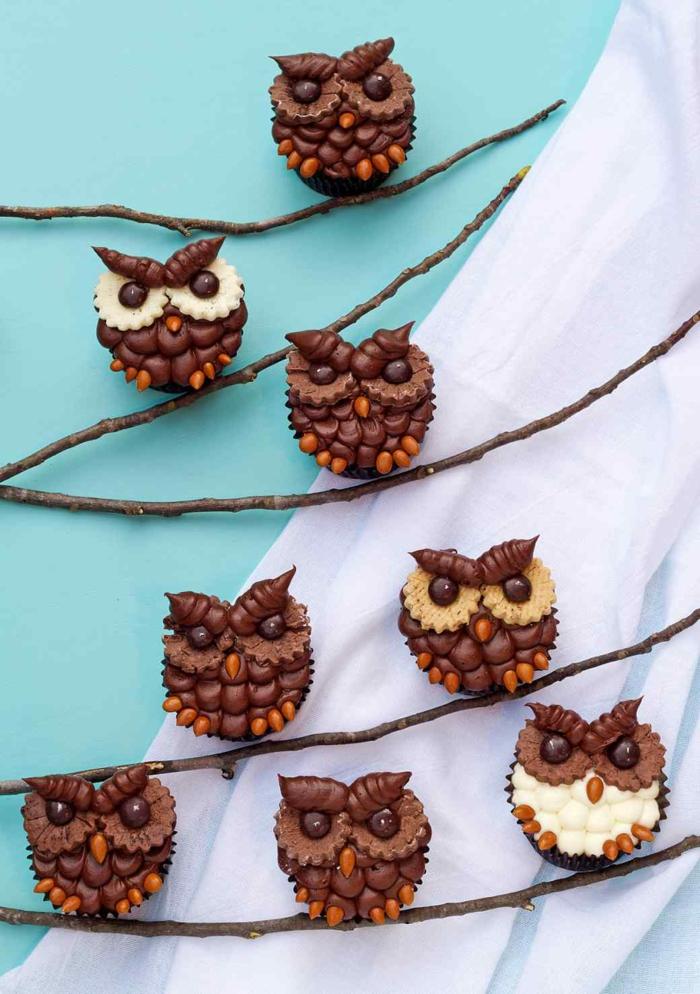 Eulen Cupcakes Rezept Törtchen backen Rezeptideen