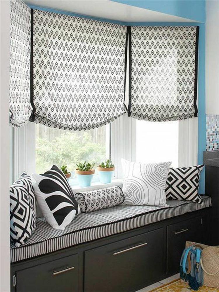 Fensterdeko Ideen Küche Zimmerpflanzen Fensterbank Deko Kissen