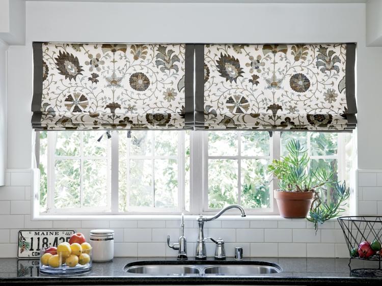 Fensterdeko Ideen Küche Zimmerpflanzen Fensterrollo