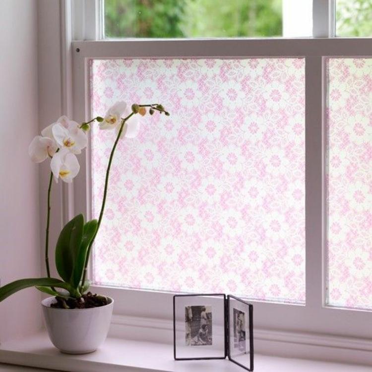 Fensterdeko Ideen Küche Zimmerpflanzen Orchidee Fensterfolie Blumenmuster