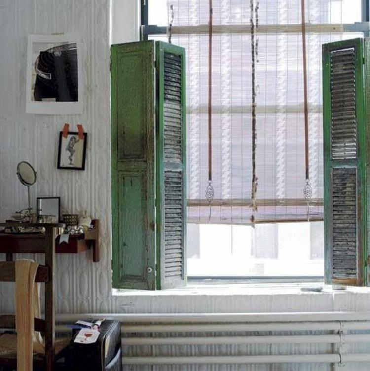 Fensterdeko Ideen Küche Zimmerpflanzen schabby chic Stil