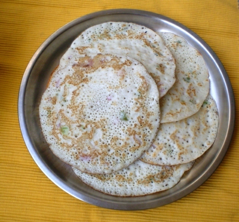 Indien Uttapam Rezepte für Pfannkuchen weltweit
