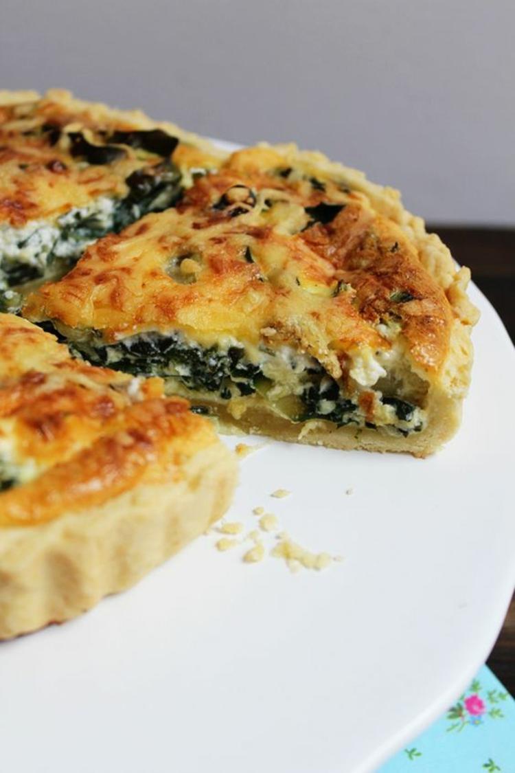 Käse Spinat Quiche Rezept Quiche Teig zubereiten Gemüse Füllung