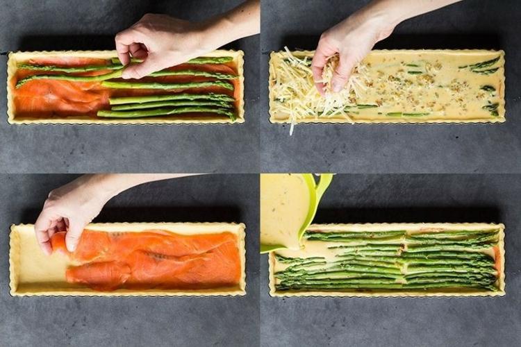 Lachs Spargel Käse Quiche Teig zubereiten Quiche Rezept
