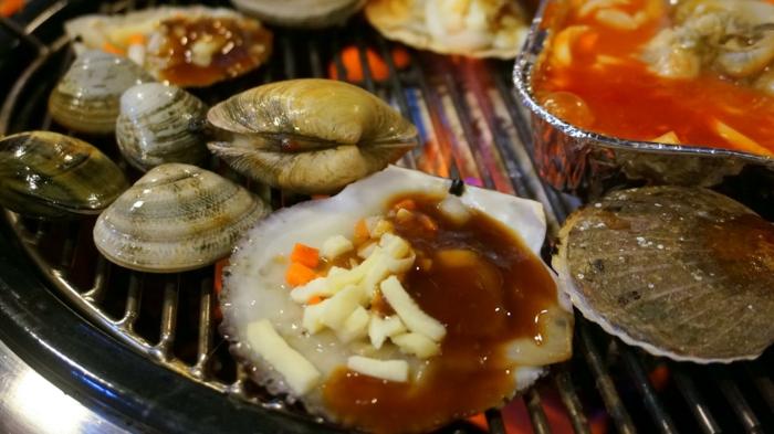 Muscheln kochen nah vorspeise besteck set grill