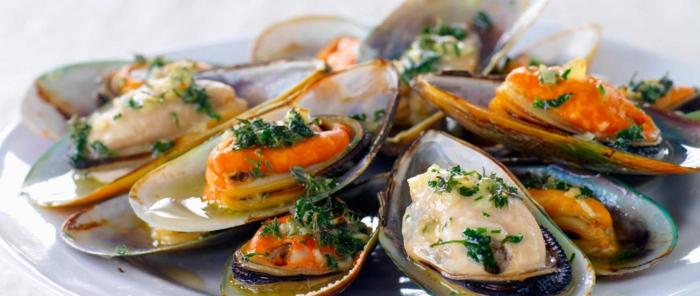 Muscheln kochen nah vorspeise besteck set lecker geräuchert
