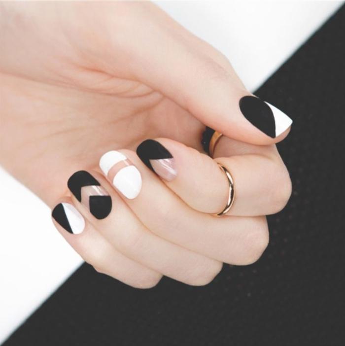 Nageldesign Bilder Fingernägel Trends schwarz weiß