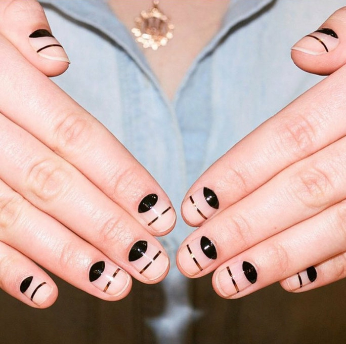 Nageldesign Bilder Fingernägel Trends schwarze Konturen