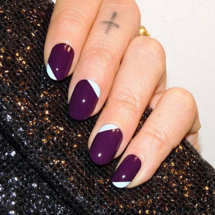 Nageldesign Bilder Fingernägel Trends violett weiß