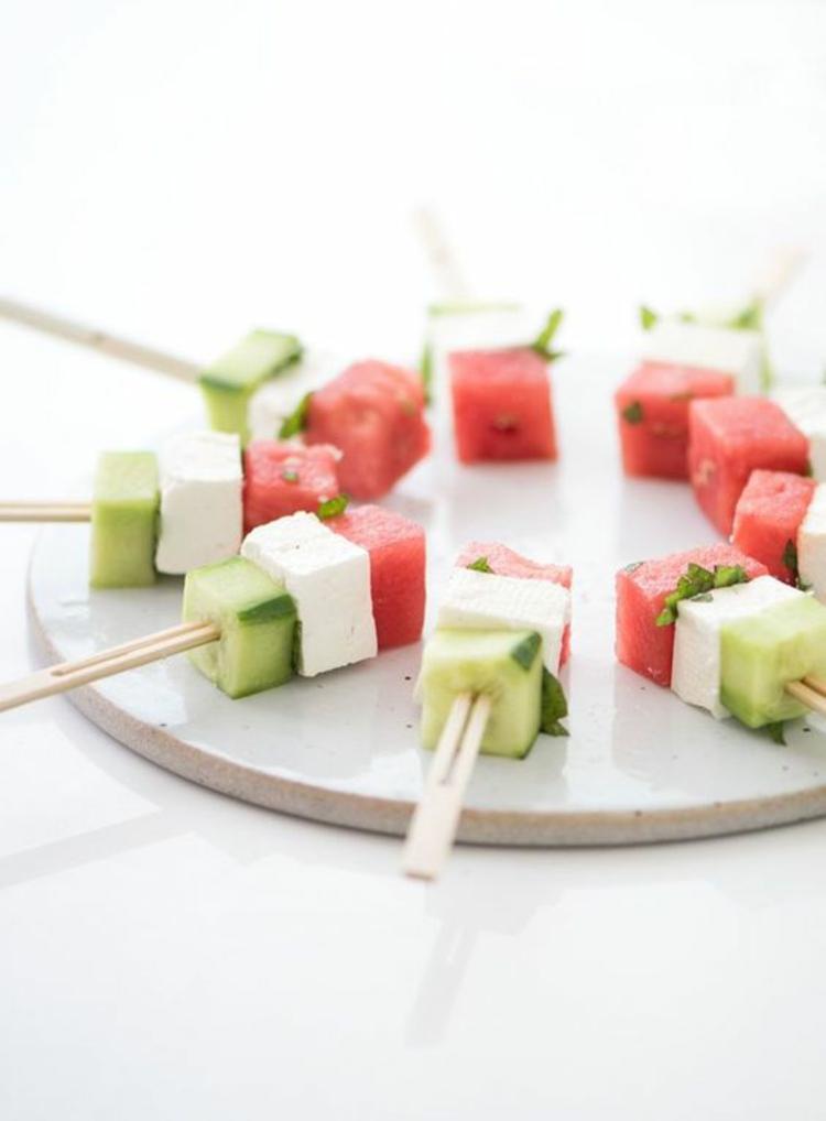 Partyrezepte Fingerfood kalt Vorspeise Gurke Feta Käse Wassermelone