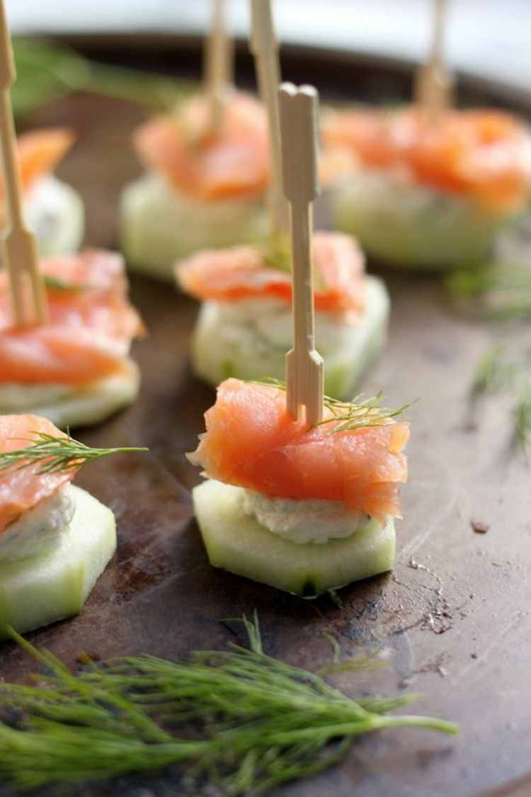 Partysnacks Fingerfood Rezepte Gurke Lachs Dill