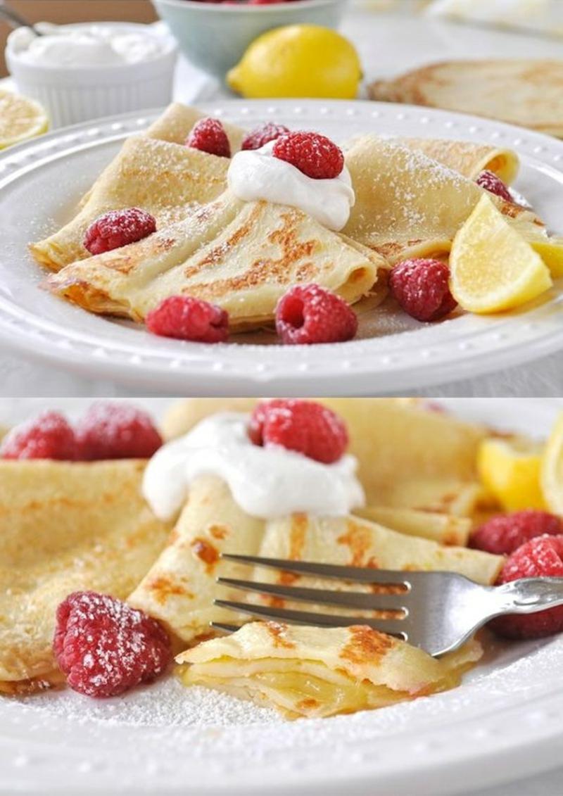 Pfannkuchenteig Rezept Pfannkuchen zum Frühstück Himbeeren